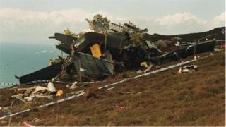 Helicopter wreckage on the Mull of Kintyre