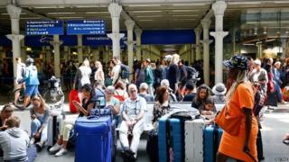 Passengers at St Pancras station
