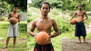 Young basketball players pose with their basketballs