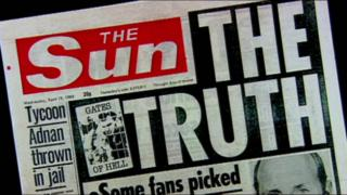 "Headline of The Sun, 19 April 1989: ""Truth"" showing false claims about the Hillsborough victims"