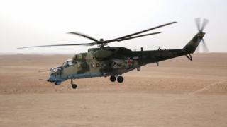 Un helicóptero ruso en Siria.
