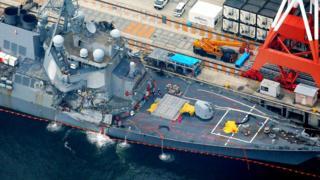 航拍停泊於日本橫須賀美國艦隊基地的菲茲傑拉德號(18/6/2017)