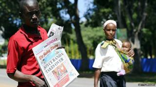 Newspaper vendor in Malawi