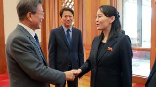 Kim Yo-jong shaking hands with South Korean President Moon Jae-in