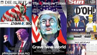 Composite of world newspaper front pages