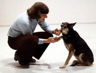 Blue Peter presenter Peter Purves and dog Petra