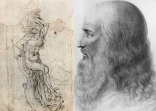 Saint Sebastian drawing by Leonardo da Vinci next to a drawing of the artist