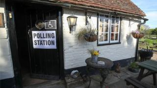 """General view of the polling station at the White Horse Inn in Priors Dean, Hampshire, also known by locals as the """"Pub with no name"""", as voters headed to the polls for council and mayoral elections across England and Northern Ireland."""