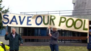 Quarry pool protestors
