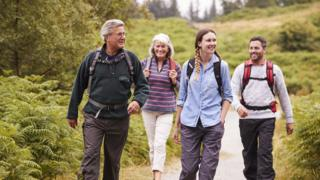 Stock images of walking group