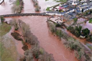 An aerial view of the Welsh village of Crickhowell which was cut off as the river Usk bursts its banks at Crickhowell bridge near the Bridge End Inn on 16 February 2020 in Crickhowell, Wales.