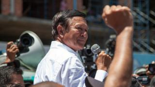 Kem Sokha gives a speech to supporters in July 2014