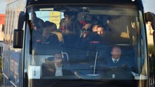 Unaccompanied migrant minors on bus