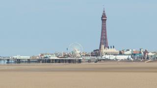 Beach at Blackpool with tower behind