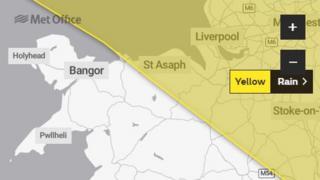 Map rhybudd melyn y Swyddfa Dywydd