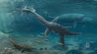 Jurassic reptiles (artist impression)