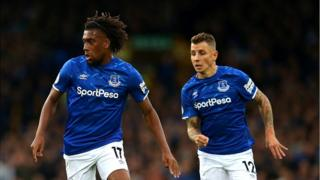 Alex Iwobi of Everton during the Premier League match between Everton FC and Manchester City at Goodison Park on September 28