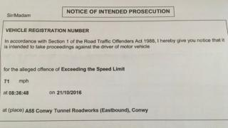 A notice of intended prosecution for speeding