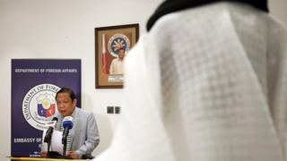 Philippine Ambassador Renato Pedro Villa speaks to reporters in Kuwait City (21 April 2018)