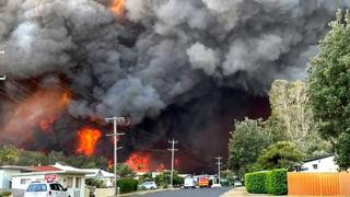 Massive flames and smoke clouds from a major bushfire hang over a suburban street in Harrington, New South Wales