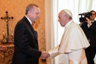 Cumhurbaşkanı Recep Tayyip Erdoğan ve Papa Francesco