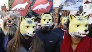 Manifestantes protestan contra la caza de lobos en Francia.