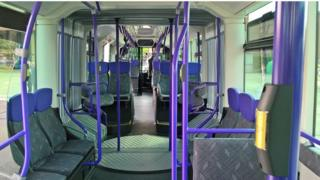 The inside of the new Glider bus.