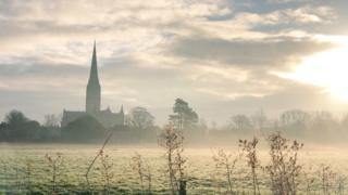 From Harnham Meadows in Salisbury looking out across Salisbury Cathedral