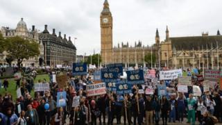 Demonstrators in Parliament Square