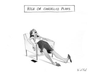 A cartoon of a woman relaxing after cancelling plans
