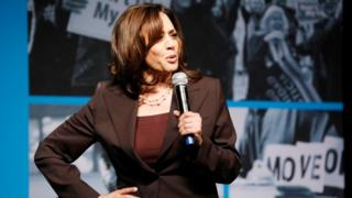 Kamala Harris speaks on stage at the MoveOn Big Ideas Forum at the Warfield Theater on June 1, 2019 in San Francisco, California.