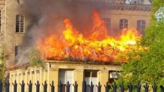 Herdman's Mill on fire