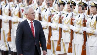 Australian PM Malcolm Turnbull is given a welcome ceremony outside Beijing's Great Hall of the People last year
