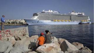 Quantum of the Seas cruise ship docked at the port of Piraeus near Athens