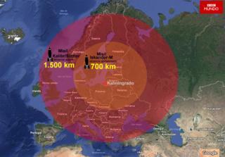 Mapa del alcance de los misiles