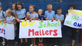 Pupils demonstrate against plans to close Glan-yr-Afon primary school in Cardiff