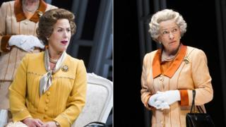 Emma Handy and Marion Bailey as the Queen in Handbagged