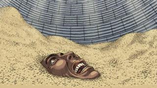 Ilustração de homem soterado por grãos em silo, apenas com o rosto de fora