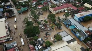 A flooded town in the Philippines after Storm Usman, December 2018