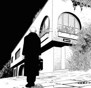 """Ilustración del restaurante Pozzetto y el asesino en la novela gráfica """"Satanás""""."""