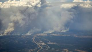 Smoke clouds from the Alberta wildfire