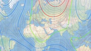Карта магнитного поля Земли