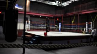Image shows empty boxing ring
