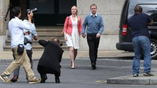 Former trader Tom Hayes (R) and his wife Sarah arrive at Southwark Crown Court on August 3, 2015