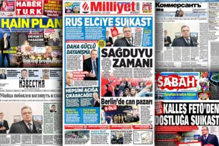 Turkish and Russian newspaper front pages