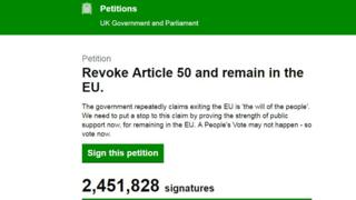 Screen grab of EU petition