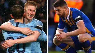 Man City celebrate, Shrewsbury devastated