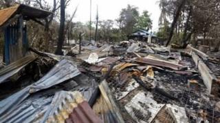 Damages in Rohingya Muslim Populated Areas in Myanmaar