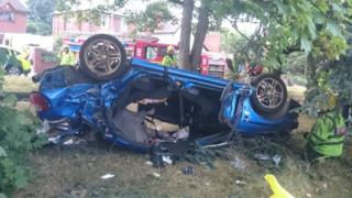 Overturned crashed car
