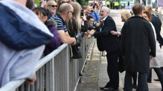 Jeremy Corbyn at Labour rally in Colwyn Bay